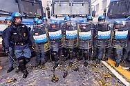 Roma 3 Dicembre 2014<br /> Manifestazione  di precari, studenti e il sindacato Cobas contro il Jobs Act in centro a Roma. Il corteo ha  tentato di arrivare al Senato dove  iniziato il dibattito  sul provvedimento ma &egrave; stato fermato dalla polizia.La polizia colpita dalle uova lanciate dei manifestanti<br /> <br /> Rome December 3, 2014<br /> Demostration of temporary workers, students and the union Cobas against the Jobs Act in downtown Rome. The procession attempted to get to the Senate, where the debate began on the measure but was stopped by the police. The police hit by the eggs of the protesters.