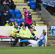 Dundee&rsquo;s Marcus Haber hurdles St Johnstone&rsquo;s Liam Craig - St Johnstone v Dundee in the Ladbrokes Scottish Premiership at McDiarmid Park, Perth: Picture &copy; David Young<br /> <br />  - &copy; David Young - www.davidyoungphoto.co.uk - email: davidyoungphoto@gmail.com