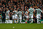 Celtic FC Forward Leigh Griffiths celebrates the opening goal during the Ladbrokes Scottish Premiership match between Celtic and Dundee United at Celtic Park, Glasgow, Scotland on 25 October 2015. Photo by Craig McAllister.