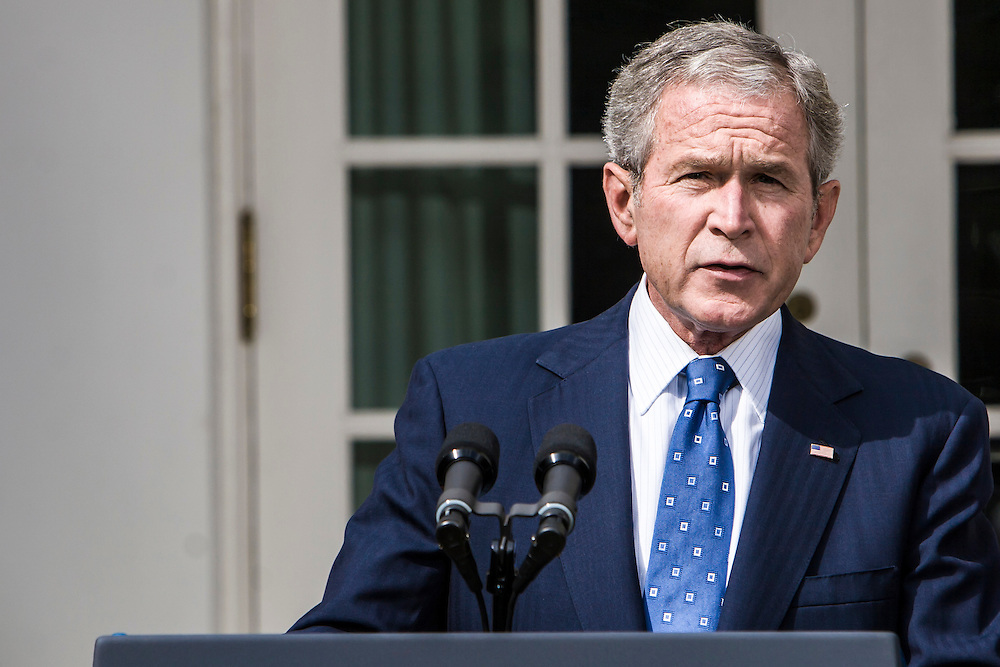 President George W. Bush delivers a statement on the economy from the White House Rose Garden on Friday, September 19, 2008 in Washington, DC. Brendan Hoffman for the New York Times