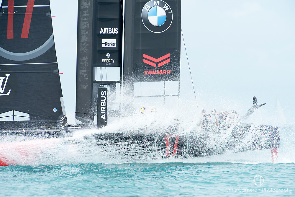 The Great Sound, Bermuda. 3rd June 2017. Oracle Team USA beat Emirates Team New Zealand in their second race of the America's Cup Qualifiers and so take a point forward to the America's Cup final.