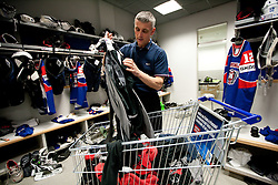 Milan Dragan in wardrobe prior to the ice-hockey match between Slovenia and Latvia of IIHF 2011 World Championship Slovakia, on May 5, 2011 in Orange Arena, Bratislava, Slovakia.  (Photo By Vid Ponikvar / Sportida.com)
