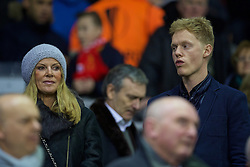 LIVERPOOL, ENGLAND - Thursday, November 26, 2015: Jürgen Kopp's wife Ulla Sandrock and son Marc before the UEFA Europa League Group Stage Group B match between Liverpool and FC Girondins de Bordeaux at Anfield. (Pic by David Rawcliffe/Propaganda)