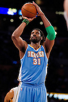 03 April 2011: Center Nene of the Denver Nuggets shoots a freethrow against the Los Angeles Lakers during the first half of the Nuggets 95-90 victory over the Lakers at the STAPLES Center in Los Angeles, CA.