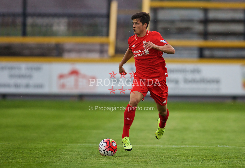 SOUTHPORT, ENGLAND - Wednesday, August 19, 2015: Liverpool's Joao Carlos Teixeira in action against Everton during the Under 21 FA Premier League match at Haig Avenue. (Pic by David Rawcliffe/Propaganda)