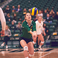 3rd year setter, Kirstin Greve (17) of the Regina Cougars during the Women's Volleyball pre-season game on Sat Sep 22 at Centre for Kinesiology, Health & Sport. Credit: Arthur Ward/Arthur Images
