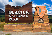 Entrance sign, Glacier National Park, Montana USA