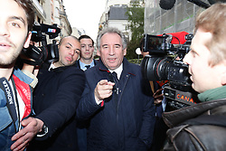 © Licensed to London News Pictures . 07/05/2017 . Paris , France . Francois Bayrou outside the office of En Marche . The electorate are voting in the final round of the French election . Emmanuel Macron's En Marche and Marine Le Pen's Front National are competing for the Presidency . Photo credit: Joel Goodman/LNP