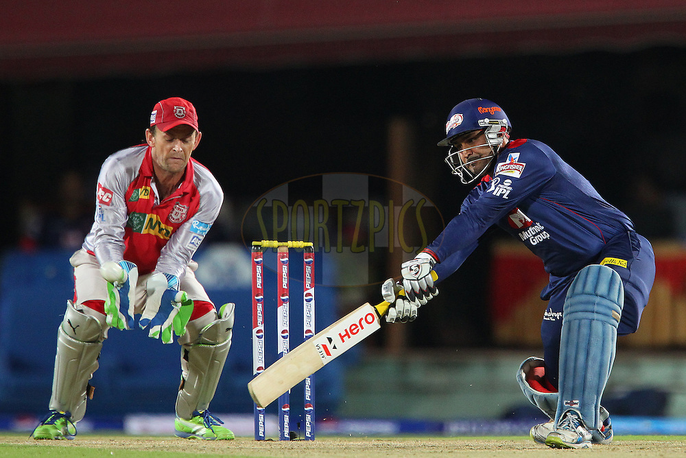 Viremder Sehwag during match 67 of the Pepsi Indian Premier League between The Kings XI Punjab and the Delhi Daredevils held at the HPCA Stadium in Dharamsala, Himachal Pradesh, India on the on the 16th May 2013..Photo by Ron Gaunt-IPL-SPORTZPICS ..Use of this image is subject to the terms and conditions as outlined by the BCCI. These terms can be found by following this link:..http://www.sportzpics.co.za/image/I0000SoRagM2cIEc