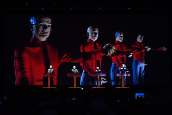 © Licensed to London News Pictures . 20/07/2013 . Suffolk , UK . Kraftwerk perform their 3D show on the Obelisk Stage . The Latitude music and culture festival in Henham Park , Southwold . Photo credit : Joel Goodman/LNP
