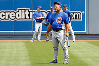 22 August 2009: First Base Coach Matthew Stephen Sinatro in right field during the MLB National League Chicago Cubs 2-0 loss to the Los Angeles Dodgers at Chavez Ravine.