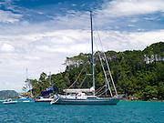 Sailboats. View from Motuarohia Island across the Bay of Islands. Sailboats moored.