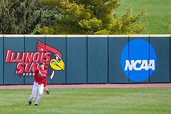 NORMAL, IL - April 08: Gunner Peterson tossed the ball back to the infied during a college baseball game between the ISU Redbirds  and the Missouri State Bears on April 08 2019 at Duffy Bass Field in Normal, IL. (Photo by Alan Look)