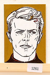 © Licensed to London News Pictures. 08/04/2016. A postcard featuring David Bowie on display at The Royal College of Arts(RCA) 22nd annual Stewarts Law RCA Secret exhibition of postcards designed by well-known artists and designers. London, UK. Photo credit: Ray Tang/LNP