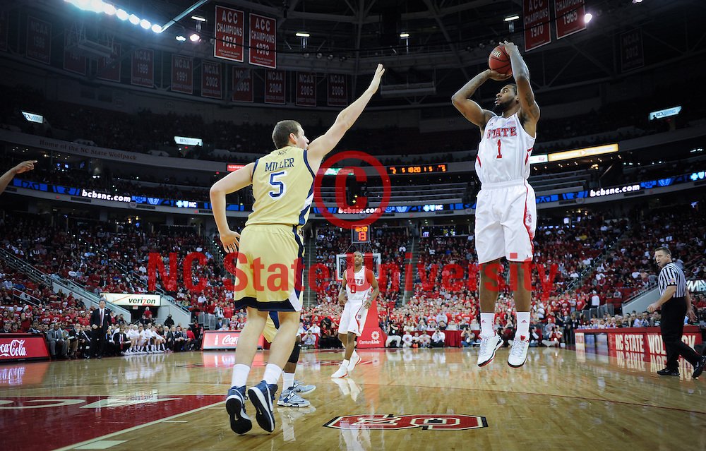 NC State's Richard Howell goes up for two at the PNC Arean. Photo by Marc Hall