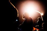 Roma, Italia - 24 novembre 2012. Il leader di Casapound Italia Gianluca Iannone ritratto durante una manifestazione di militanti di Casapound a Roma. Casa Pound è il primo centro sociale italiano di ispirazione fascista.  Il nome Casa Pound è ispirato al poeta Ezra Pound, e fa particolare riferimento ai suoi Cantos contro l'usura, alle posizioni economiche di critica tanto al capitalismo quanto al marxismo ed alla sua adesione alla Repubblica Sociale Italiana. .Ph. Roberto Salomone Ag. Controluce.ITALY - The leader of italian fascist group of Casapound Gianluca Iannone  portrayed during a rally in Rome on November 24, 2012. The group is the first social center  of fascist ispiration in Italy and its name was ispired by poet Ezra Pound.