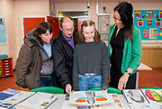 21 February 2018: Louth Academy Sixth Form Open Evening.<br /> Kathryn Beer who is currenlty in Year 11 at Louth Academy with her  mum and dad Andrew and Kimberley Beer in one of the new art rooms. Pictured right is Art Teacher <br /> Picture: Sean Spencer/Hull News & Pictures Ltd<br /> 01482 210267/07976 433960<br /> www.hullnews.co.uk         sean@hullnews.co.uk
