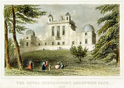 Flamsteed House, Greenwich Park,  near London, England, the Royal Greenwich Observatory. Built by Christopher Wren (1632-1723) on the orders of Charles II with the aim of providing  accurate navigation tables and of solving the problem of finding longitude at sea. Hand-coloured engraving c1835.