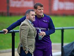 KIRKBY, ENGLAND - Sunday, October 21, 2018: Former Liverpool player David Thompson (L) and Derby County coach Craig Short during the Under-23 FA Premier League 2 Division 1 match between Liverpool FC and Derby County at The Kirkby Academy. (Pic by David Rawcliffe/Propaganda)