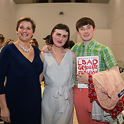 13.06.2016<br /> Liadán Scott Keogh winner of the IFIL, AIB Graduate Business Development Award worth €5,000 which includes a three-month paid work experience with leading London-based Irish Fashion Designer Richard Malone at the much anticipated Limerick School of Art & Design, LIT, (LSAD) Graduate Fashion Show on Thursday 12th May 2016 is pictured with, Maeve Duff, AIB and designer Richard Malone. Picture: Alan Place/Fusionshooters