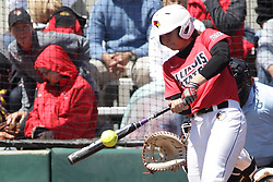 26 April 2015:   Batting for the Redbirds is Regan Romshek during an NCAA Missouri Valley Conference (MVC) Championship series women's softball game between the Loyola Ramblers and the Illinois State Redbirds on Marian Kneer Field in Normal IL