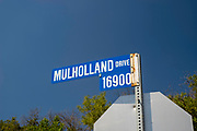 Street sign along Mulholland Drive, Los Angeles, California, USA.