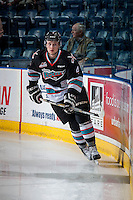 KELOWNA, CANADA - OCTOBER 23: Gordie Ballhorn #4 of Kelowna Rockets warms up against the Prince George Cougars on October 23, 2015 at Prospera Place in Kelowna, British Columbia, Canada.  (Photo by Marissa Baecker/Shoot the Breeze)  *** Local Caption *** Gordie Ballhorn;
