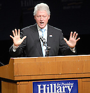 PHILADELPHIA - DECEMBER 11: Former U.S. President Bill Clinton campaigns for his wife, U.S. Sen. Hillary Rodham Clinton December 11, 2007 in Philadelphia, Pennsylvania. Hundreds attended a rally in support of Sen. Clinton hosted by her husband. (Photo by William Thomas Cain/Getty Images)