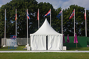 Empty landscape of still unused cycling time trials facilities in the grounds of the Tudor King Henry the Henry the Eighth's Hampton Court Palace in south west London - part of the London 2012 Olympics. The final bill for the 2012 Olympics could be ten times higher than the original estimate, according to an investigation. The predicted cost of the games when London won the bid in 2005 was £2.37billion. That figure has now spiralled to more than £12billion and could reach as much as £24billion, the Sky Sports investigation claims. The Olympics public sector funding package, which covers the building of the venues, security and policing, was upped to around £9.3bn in 2007. .