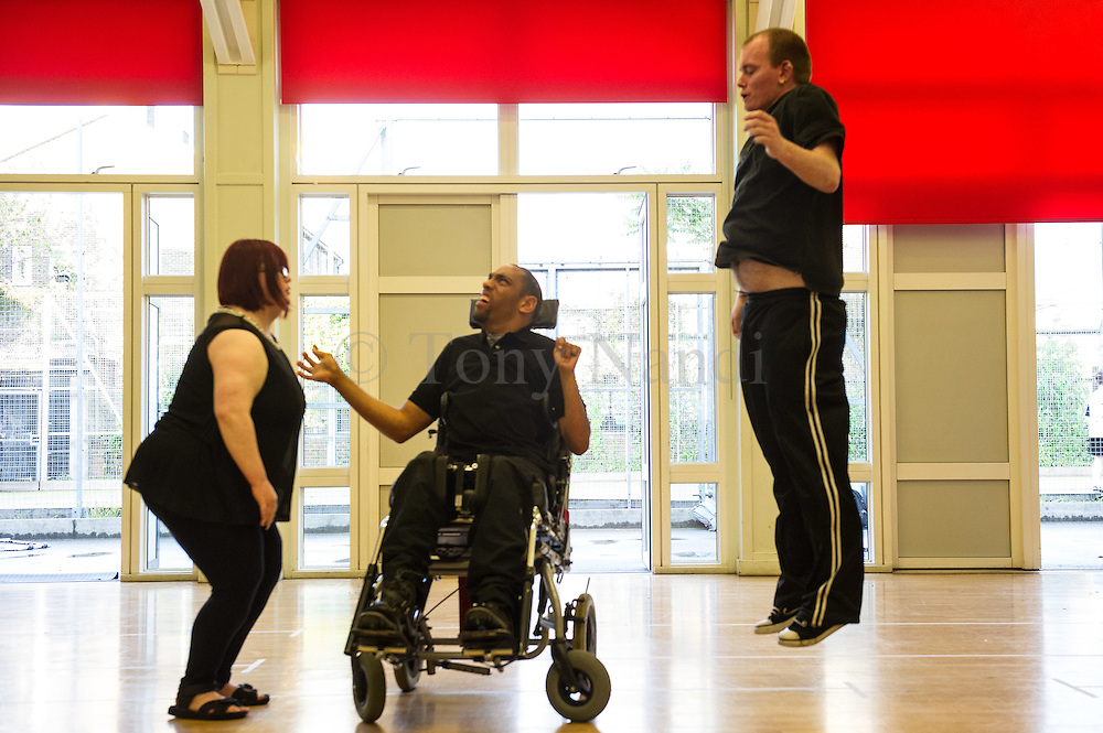 Jump, Turn, Speak! - Corali's Big Dance 2012 Project..Now in its 23rd year, Corali is based at Oval House Theatre in Lambeth. Corali presents its participatory performance of Jump, Turn, Speak. This project is the result of a two month outreach programme and four evening workshops with people with learning disabilities.Corali presents its participatory performance of Jump, Turn, Speak. This project is the result of a two month outreach programme and four evening workshops with people with learning disabilities. Performed at Reay Primary School, Lambeth, London.