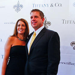 June 16, 2010; New Orleans, LA, USA; New Orleans Saints head coach Sean Payton arrives with his wife Beth at the Roosevelt Hotel where the New Orleans Saints received their Super Bowl rings for their victory of the Indianapolis Colts in Super Bowl XLIV.  Mandatory Credit: Derick E. Hingle