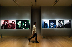 © Licensed to London News Pictures. 27/06/2018. London, UK. Four pieces of artwork titled The First and Last of the Modernists, Diptych 1-4 (2010) by artist Lorraine O-Grady is shown as part of the Michael Jackson: On the Wall exhibition at the National Portrait Gallery. Photo credit: Ray Tang/LNP