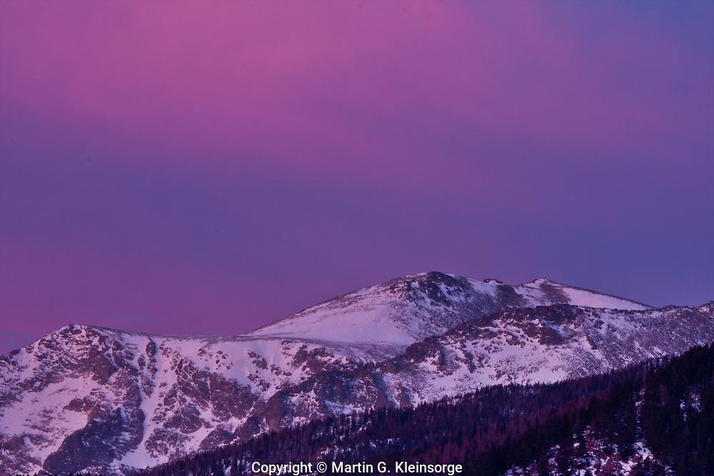 Sunrise over 12,922 ft.  Stones Peak of the Front Range.  Rocky Mountain National Park.  Colorado, USA.