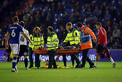 Junior Morias of Peterborough United leaves the field on a stretcher after picking up an injury - Mandatory by-line: Joe Dent/JMP - 26/09/2017 - FOOTBALL - Sportsdirect.com Park - Oldham, England - Oldham Athletic v Peterborough United - Sky Bet League One