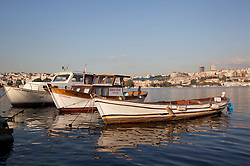 Small fishing boats in the Bosphorus, Istanbul, Istanbul, Turkey, September 2012. Photo by Silvia Baron / i-Images.
