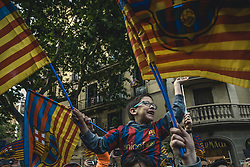 April 30, 2018 - Barcelona, Catalonia, Spain - Thousands of 'cules' fill the streets to follow the FC Barcelona's open top bus victory parade after winning the LaLiga with their eighth double in the club history (Credit Image: © Matthias Oesterle via ZUMA Wire)