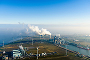 Nederland, Groningen, Eemshaven, 04-11-2018; energielandschap aan de Eemshaven met de kolengestookte elektriciteitscentrale Eemscentrale van RWE (voorheen RWE_Essent).  In de voorgond Magnum energiecentrale van Nuon (stoom- en gascentrale, STEG).<br /> Energy landscape at the Eemshaven with the coal-fired Eemscentrale power plant from RWE (formerly RWE_Essent).<br /> luchtfoto (toeslag op standaard tarieven);<br /> aerial photo (additional fee required);<br /> copyright&copy; foto/photo Siebe Swart