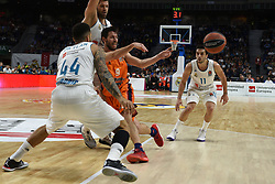 December 19, 2017 - Madrid, Madrid, Spain - Sam Van Rossom (center), #9 of Valencia in action during the 2017/2018 Turkish Airlines EuroLeague Regular Season Round 13 game between Real Madrid and Valencia Basket at WiZink center in Madrid. (Credit Image: © Jorge Sanz/Pacific Press via ZUMA Wire)