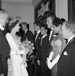 File photo dated 03/11/1958 of Queen Elizabeth II meeting Bruce Forsyth (third right), Eartha Kitt (second right), and Antonio Ruiz Soler of Antonio and his Spanish Ballet Company (fourth right) at the Royal Variety Performance at the London Coliseum. TV veteran Sir Bruce Forsyth has died at the age of 89, his family have announced.