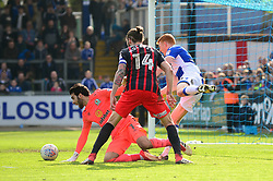 Rory Gaffney of Bristol Rovers clashes with David Raya of Blackburn Rovers - Mandatory by-line: Dougie Allward/JMP - 14/04/2018 - FOOTBALL - Memorial Stadium - Bristol, England - Bristol Rovers v Blackburn Rovers - Sky Bet League One