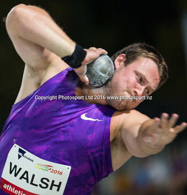 Tom Walsh (NZ) competing in the Shot Put during the IAAF world Challenge Athletics event at Lakeside Stadium. Saturday 5th March 2016. Copyright Photo. Brendon Ratnayake / www.photosport.nz