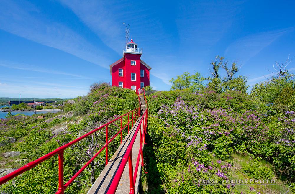Marquette Lighthouse, lilacs, catwalk