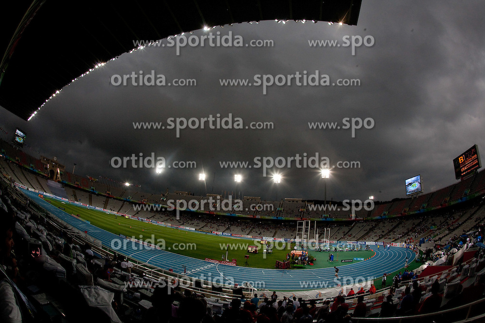 Rain in the afternoon of day three at the 2010 European Athletics Championships at the Olympic Stadium in Barcelona on July 29, 2010. (Photo by Vid Ponikvar / Sportida)