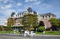 Horse Carriage Approaching Empress Hotel, Victoria, British Columbia, Canada