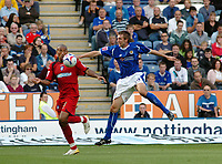 Photo: Kevin Poolman.<br />Leicester City v Colchester United. Coca Cola Championship. 23/09/2006. Chris Iwelumo (Colchester) gets the better of Gareth Mcauley.