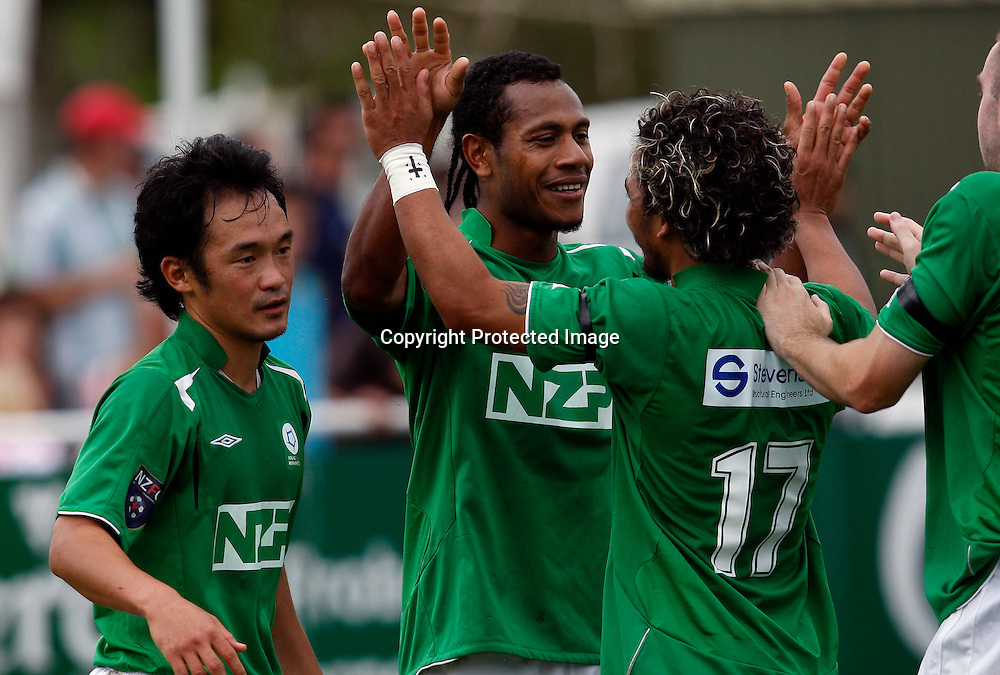 Manawatu's Seule Soromon (centre) celebrates his goal. NZFC Football, Auckland City FC v Youngheart Manawatu, Kiwitea Street Auckland, Friday 2nd April 2010. Photo: Shane Wenzlick/PHOTOSPORT