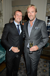 Left to right, FRANCIS-ALEXANDER MATHEW son of Princess Olga Romanoff and PHILIPPE KJELLGREN at a cocktail party hosted by Mrs Sonia Falcone and Mrs Kimberley Robson Chairman of Le Bal de la Riveria 2016 for the forthcoming Ball held at Flemings Hotel, Half Moon Street, London on 27th September 2016.