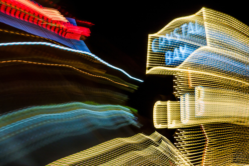 """Tahoe Lights 3"" - Photograph taken at the Lake Tahoe northern state line casinos. The look was achieved by shooting a handheld long exposure and zooming the lens during the exposure."