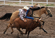 Steer Wrestler Clay Patrick Cowan competes on 26 July 2007, Cheyenne Frontier Days