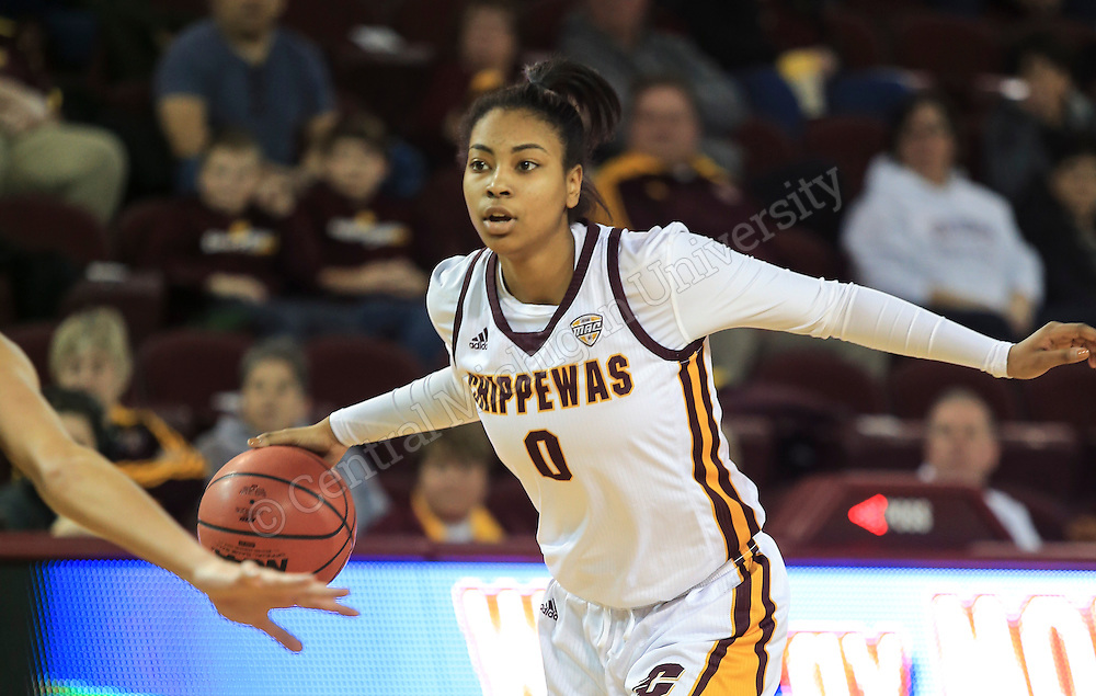 Jasmine Harris #0, during Women's basketball victory over Western Michigan in McGuirk Arena at Central Michigan University on 1/27/2016.  Photo by Steve Jessmore/Central Michigan University
